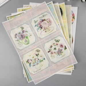 "Набор декупажных карт 6 шт ""Цветочный винтаж"" А4, 45 г/м2"