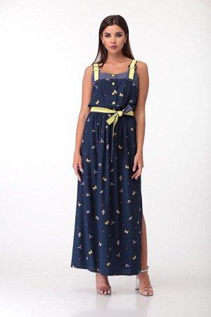 """Платье Платье Anastasia Mak 710 бабочки  Состав ткани: ПЭ-95%; Спандекс-5%;  Рост: 164 см.  Платье выполнено из ткани с набивным рисунком, в качестве отделки - однотонная ткань типа """"джинс"""""""