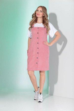 Сарафан Сарафан Angelina & Company  364 розовый  Состав ткани: ПЭ-24%; Хлопок-74%; Лайкра-2%;  Рост: 164 см.  Молодежный, стильный сарафан из штруксовой ткани. Перед сарафана с застежкой на восемь пе