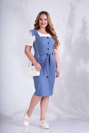 Сарафан Сарафан Liliana 801 василек  Состав ткани: Вискоза-20%; ПЭ-30%; Лён-50%;  Рост: 164 см.  Элегантное романтическое платье, выполнено из ткани в продольную полоску на подобие льна. Изделие имее