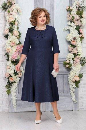 Платье Платье Ninele 2233 темно-синий  Сезон: Весна Рост: 164  Изящное платье красиво садится по фигуре, ненавязчиво подчеркивая совершенство ее форм. Полуприлегающий силуэт отлично стройнит, акценти