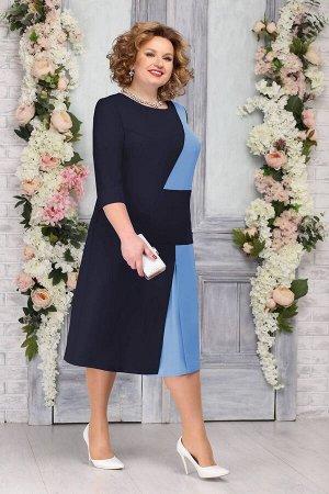 Платье Ninele 5765 темно-синий+голубой