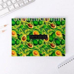 Скетчбук горизонтальный на гребне Sketchbook avocado, А5,80 листов