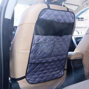 Органайзер на спинку сидения автомобиля, с карманами, ромб, цвет серый