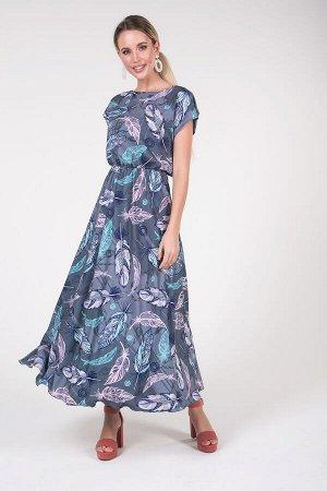 Платье Дарья №23 .Цвет:оливковый/перья