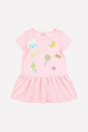 5490 платье/св.розовый, сахар полоска