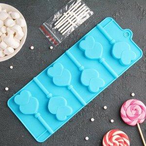 Форма для леденцов и мороженого Доляна «Влюблённость», 9,5?24?1 см, 6 ячеек, цвет МИКС