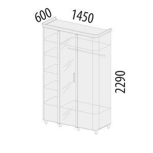 Шкаф трехдверный с зеркалом Катрин 92.12