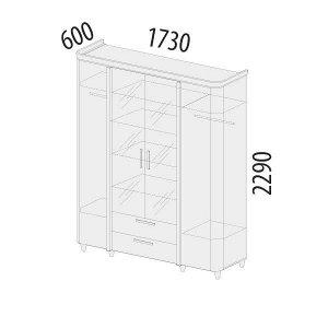 Шкаф четырехдверный с зеркалом Катрин 92.14