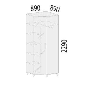 Шкаф угловой с зеркалом (лев/прав) Катрин 92.09
