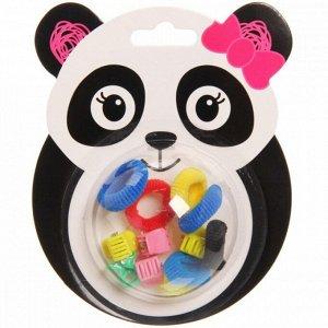 """Резинки и крабики для волос детские 12шт """"Панда"""", d-1,5см, 6 резинок и 6 крабиков, 12*10см"""