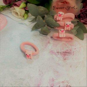"""Резинки для волос детские 4шт """"PINK - Мишки"""", цвет розовый, 4см"""