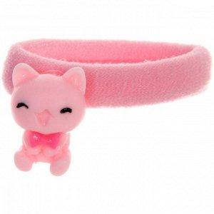 """Резинки для волос детские 4шт """"PINK - Котики"""", цвет розовый, 4см"""