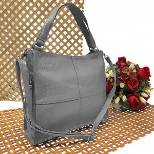 Вместительная сумка Inter_Suare формата А4 из натуральной кожи пепельно-серого цвета.