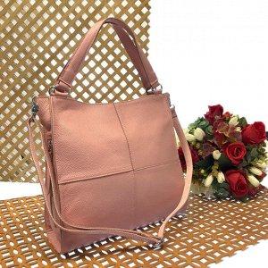 Вместительная сумка Inter_Suare формата А4 из натуральной кожи пудрового цвета.