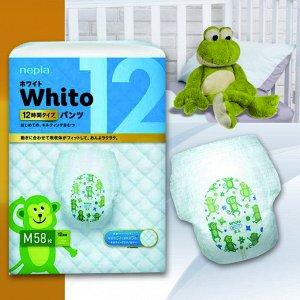 """577708 """"Whito"""" Детские подгузники-трусики (для девочек и мальчиков) 58 шт., 7-10 кг (М) 12 часов"""