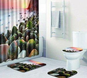 Набор штора+коврики в ванную