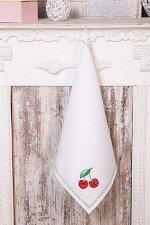 Полотенце кухонное с вышивкой 45*90 см, жаккардовое, 100 % лён (Вишня)