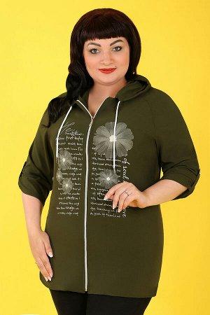 Зеленый Примечание: замеры длин соответствуют размеру 54. Длина блузы спереди: 76 см. Длина блузы сзади: 83 см. Длина рукава: 51 см. Подкладка: нет. Застёжка: молния спереди. Карманы: нет. Декор: прин