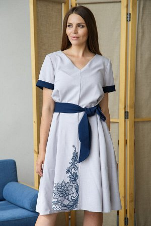 Платье 142/2, лиловый беж/полночный синий