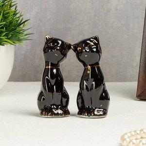 """Сувенир керамика """"Чёрные кошки"""" с золотом набор 2 шт 7,5х3х3 см"""