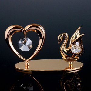 """Сувенир с кристаллами Swarovski """"Лебедь и сердце"""" 11,5х6,2 см"""