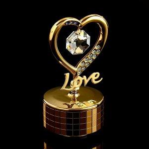 """Музыкальный сувенир с кристаллами Swarovski """"Элегантное сердце"""" 9,2х5,1 см"""