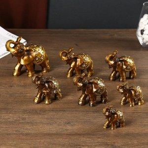 """Сувенир полистоун """"Слоны,попона со стразами"""" набор 7 шт h=9,5;8,5; 7,5; 6,5; 5,5; 5,3; 5 см"""