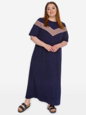 Платье с отделкой, темно-синее, отделка кофе*