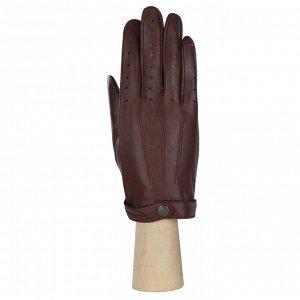 Перчатки на шёлке, из кожи ягненка, коричн.  FABRETTI 12.84-2s brown
