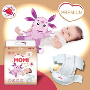 MOMI Premium подгузники NB (0-5 кг). 90 шт.