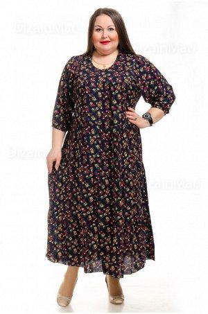 Платье 7701-21 для полных в мелкий цветочек на темно-синем фоне