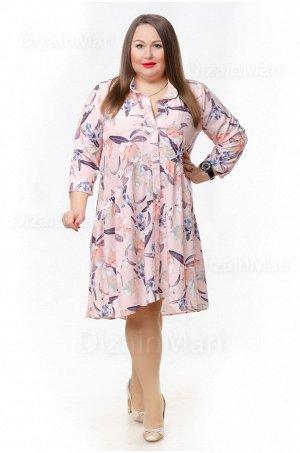 Лёгкое светлое платье 0818-1 для полных с длинными рукавами