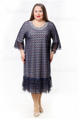 Серое платье 758 в ёлочку для торжественных случаев
