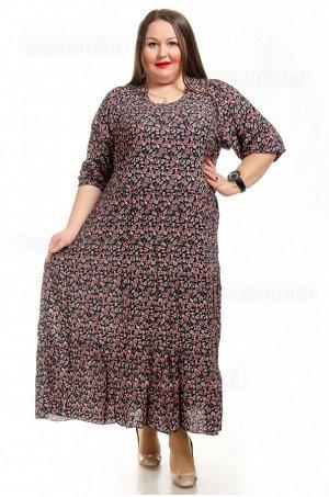 Просторное повседневное платье 7701-17