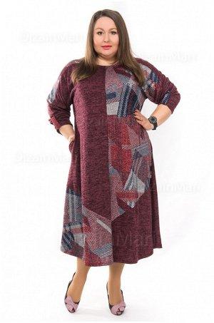 Платье 3181-1 с длинными рукавами и боковыми карманами