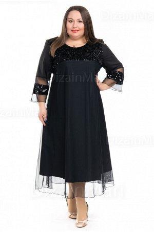 Чёрное платье 8590 прямого кроя