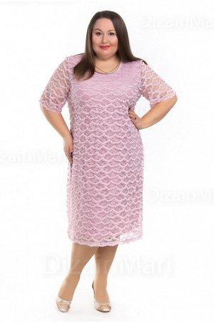 Платье 0954-2 розового цвета для полных