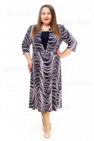 Платье 55750-2 для полных с эффектом объёмных складок