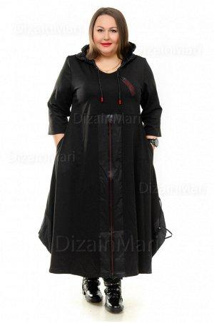 Современное чёрное расклешенное платье 8597