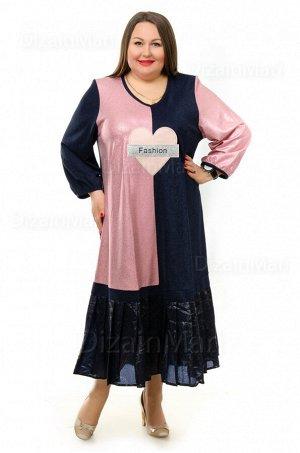 Платье 8588-1 с сочетанием черного и розового цвета