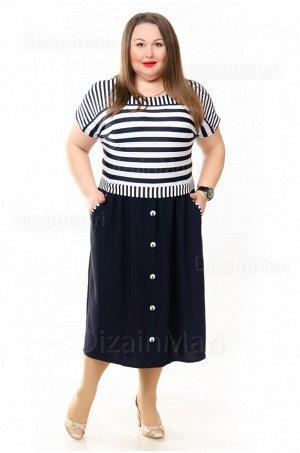 Платье 55761 с контрастными чёрно-белыми полосками
