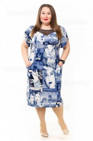 Летнее сине-белое платье 8801-6 с необычным принтом