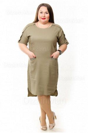 Элегантное платье 6283-2 цвета хаки