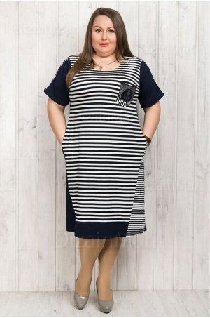 Платье 6003 прямого кроя с коротким рукавом