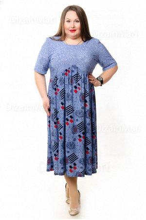 Платье 6280-1 из тонкого упругого трикотажа нежно-синего цвета