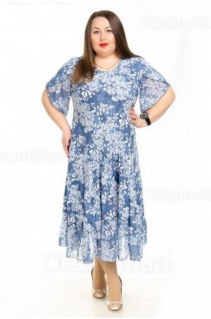 Платье 210010-2 нежно-голубого цвета с цветками