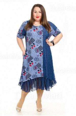 Платье 21008-2 с комбинированными цветами и узорами