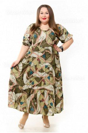 Платье 3271-29 для полных со сложным цветочным принтом