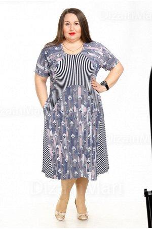 Современное платье 21005-2 с слегка расширенным низом для полных